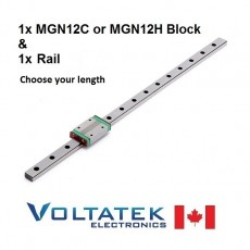 MGN12H or MGN12C 12mm Linear Bearing Block and Guide Rail Set
