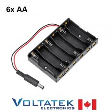Battery Holder box 6x AA (9V total) with 2.1mm DC Jack