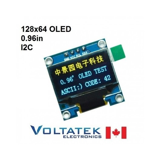 128x64 OLED Display Module 0.96 in Serial I2C