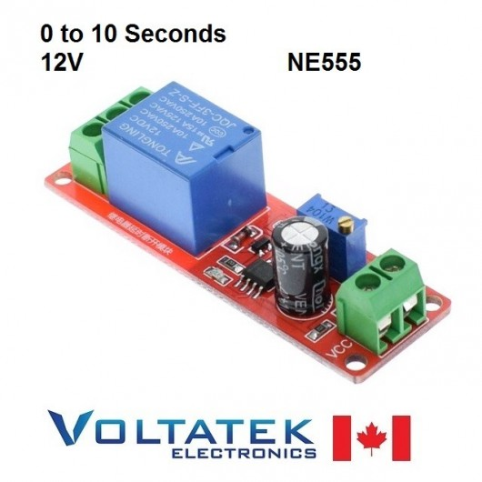 NE555 Delay Timer Switch Adjustable 0 to 10 Second 12V