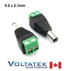2.1 x 5.5mm DC Power male Plug Jack Terminal Block Adapter