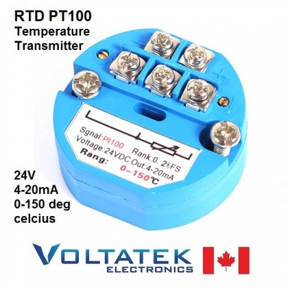 RTD PT100 Temperature Sensor Transmitter 0 to 150 degree 4-20mA Output