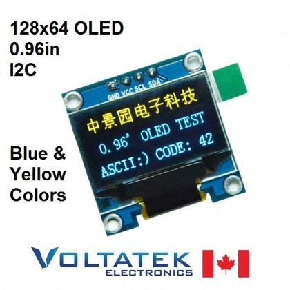128x64 Blue and Yellow OLED LCD Display Module 0.96 inch I2C Serial IIC