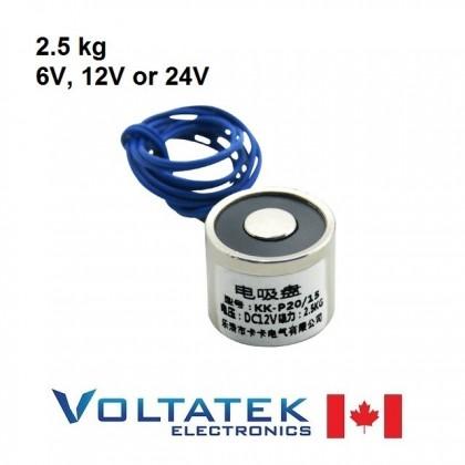 Electromagnet 2.5kg DC 6V 12V or 24V Model P20/15