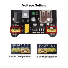 Breadboard power supply voltage setting 3.3V & 5V