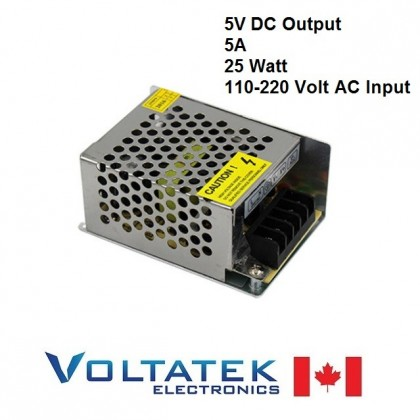 Power Supply DC 5 Volts 5 Amps 25 Watt AC 110V 220V