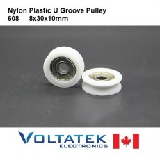 Nylon Plastic U Groove 608 Ball Bearing Pulley 8x30x10mm