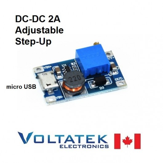 DC-DC 2A Adjustable Boost Step-Up Module with Micro USB