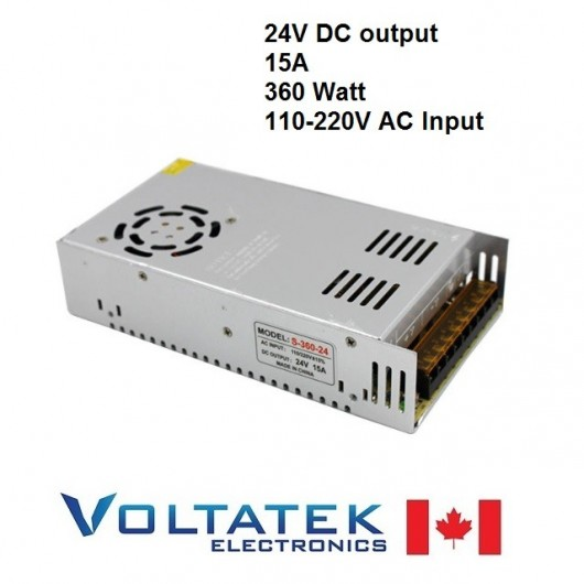 Power Supply DC 24 Volts 15 Amps 360 Watt AC 110V 220V