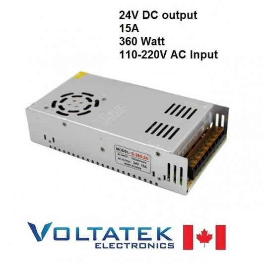 Power Supply DC 24 Volts 15 Amps 360 Watt AC 110V 220V