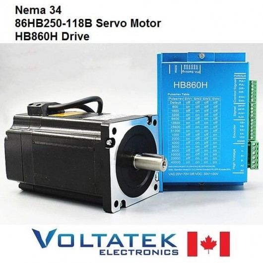 Nema 34 Servo Motor and Drive 86HB250-118B HB860H Closed-Loop