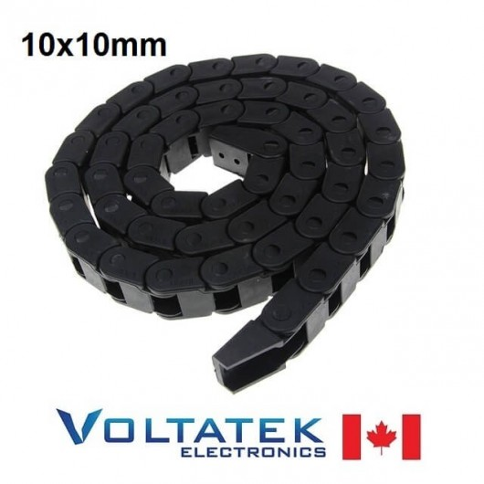 Drag Chain Cable Carrier 10x10mm x 1 meter with End Connectors 1000mm