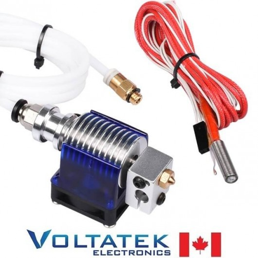 V6 J-head Hotend Bowden Extruder Full Set with 12V Heater, Fan, Tubing, 0.4mm Nozzle for 1.75mm 3D Printer