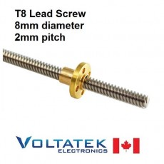 T8 Lead Screw 8mm Diameter 2mm Pitch 2mm Lead for 3D Printer