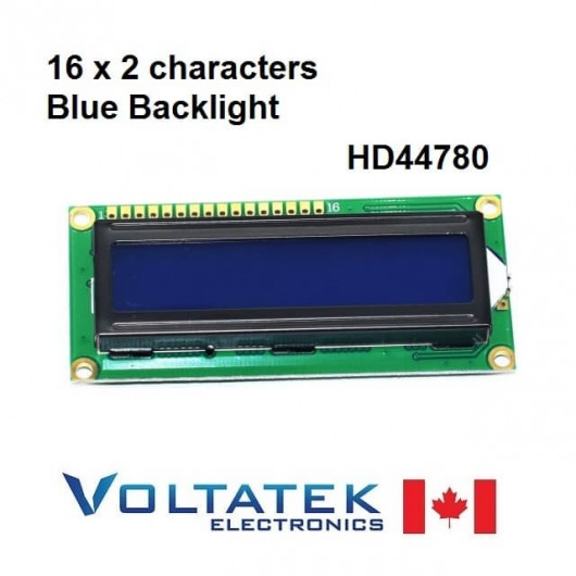 16x2 Character LCD Display Module Blue Backlight HD44780 1602