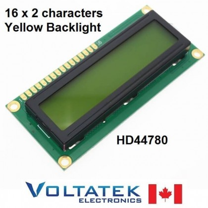 16x2 Character LCD Display Module Yellow Backlight HD44780 1602