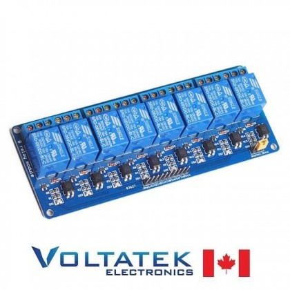 Relay Module 8 channels 5V with Optocoupler Isolation