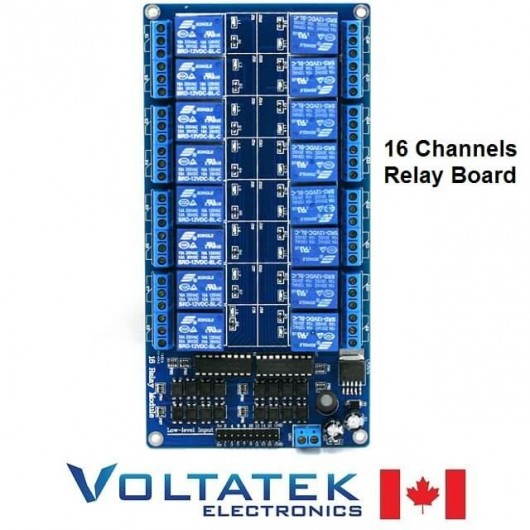 Relay Module 16 channels with Optocoupler Isolation