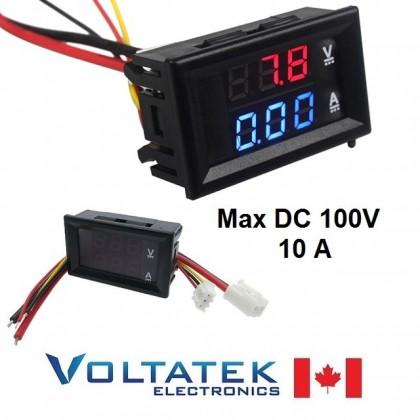 Mini Digital Voltmeter & Ammeter DC 100V 10A