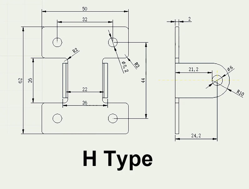 h-type bracket for linear actuator