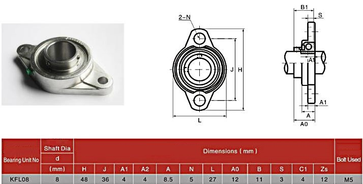 kfl08 bearing pillow block drawing dimensions