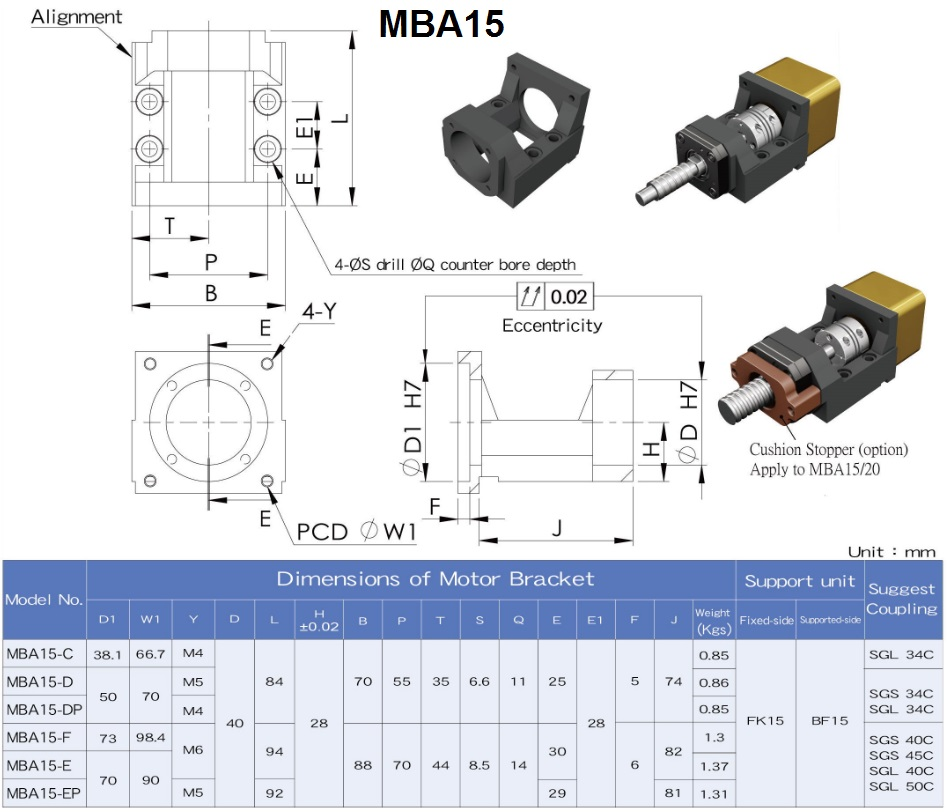 mba15 motor mount specifications