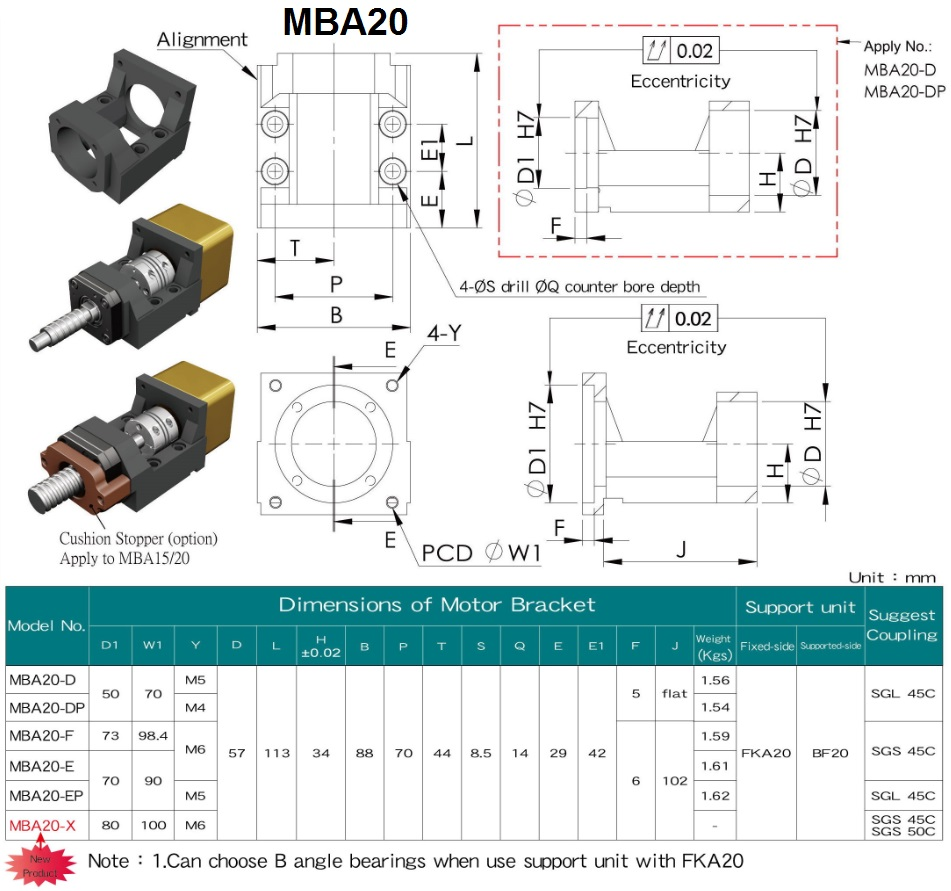 mba20 motor mount specifications