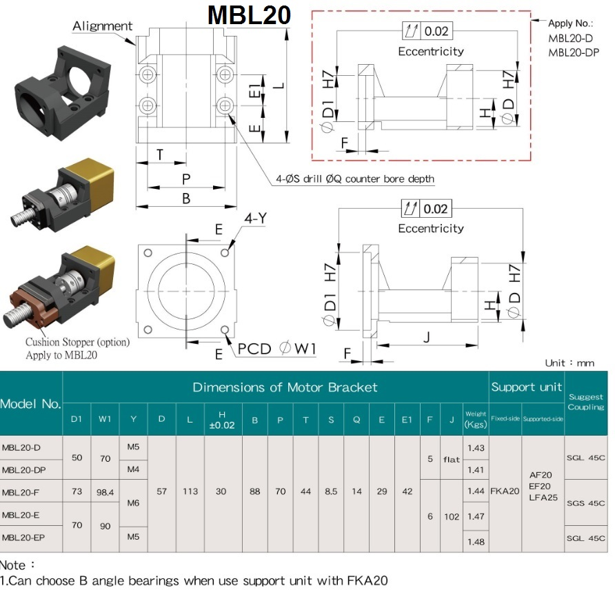mbl20 motor mount specifications